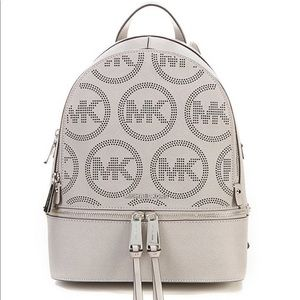 Michael Kors Grey Rhea Medium Logo Backpack NWT